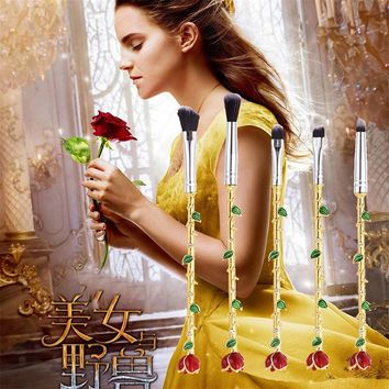 5 Pcs Beauty and the Beast Rose Flower Makeup Brushes Set