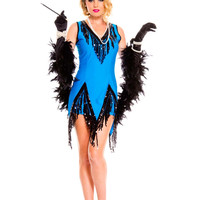 Sleeveless V-neck Flapper Feaver Costume Set