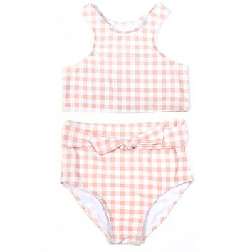 "Girl ""Tied with a Bow"" Halter Bikini 2 Piece Swimsuit Set - Peach Gingham"