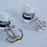 """00g 1/2"""" 9/16"""" 5/8"""" White Rose Nautical Anchor Dangle Plugs Gauges 10mm 12mm 14mm 16mm"""