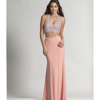 Dave & Johnny 2520 Blush Sexy Halter Low Back Two Piece Dress 2016 Prom Dresses