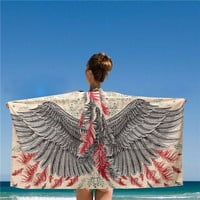 150*80CM Women Beach Shawls Grey And Red Eagle Phoenix Wings Printed Scarves Mats