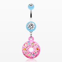 zzz-Pink Frosted Sprinkled Donut Belly Button Ring