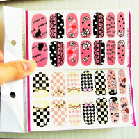 Nail wrap, Nail Decals, Nail art, Nail stickers, Water Decal, Nail art Kit, Nail art Supplies,Lolita Nails,ribbons,Cat nails