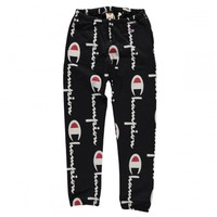 Reverse Weave All Over Script Print Sweatpants | Natterjacks