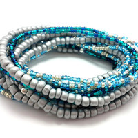 3 Stretch seed bead wrap bracelets, stacking, beaded, boho anklet, bohemian, stretchy stackable multi strand, silver grey, blue teal green