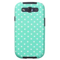 Mint Green And White Stars Pattern Galaxy SIII Cases from Zazzle.com