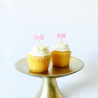 Pink glitter Bow cupcake toppers - set of 12