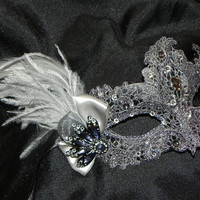 Lace Mask in Pewter and Silver