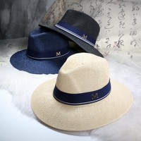 dropshipping Maison Michel Straw Hats Wide Brim M Letter Summer Hat Women Chapeu Jazz Trilby Bowler Summer Hats For Women