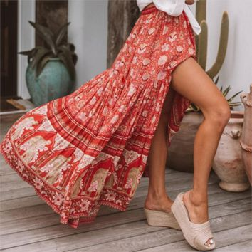 Bohemian Maxi Skirt Women Red Floral Print Skirts Skirt saia Casual Boho Chic Beach Skirts Female Faldas Jupe