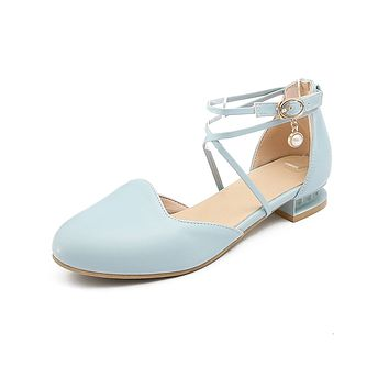 Round Toe Low Heel Sandals Summer Shoes 1720