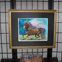 Brown Pony-Art print-Watercolor- Blue Sky's -Animal artwork by Georgi-Birthday Gift-Home decoration