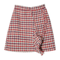 Fringed Drape Accent Check Pattern Skirt