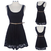"""CLOSEOUT~""""StarLite"""" Sleeveless Lace """"Little Black Dress"""" with Belt Spring/Summer Apparel"""