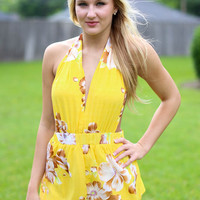 Yellow Floral Wrap Romper