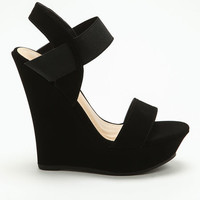 BLACK BANDED WEDGES