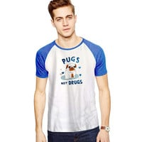 Pugs Not Drugs For Short Raglan Sleeves T-shirt, Red Tees, Black Tees, Blue Tees