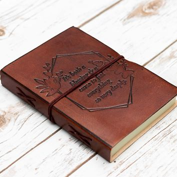 Feel Deeply Quote Handcrafted Leather Embossed Journal