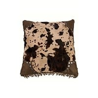 Cowgirl Kim Faux Cowhide Scalloped Edge Accent Pillow