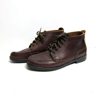 vintage brown leather Eastland lace up ankle boots
