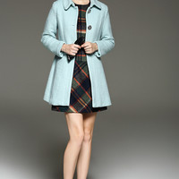 Light Blue Buttoned Wool Coat