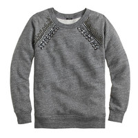 J.Crew Womens Jeweled Raglan Sweatshirt