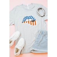 American Lip Graphic Tee, Heather Grey | Plus Size