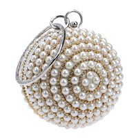 Clutches Evening Bag Factory Pearl Bead Beige Quality