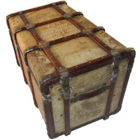 Chubb Leather Covered Trunk circa 1890- 1911