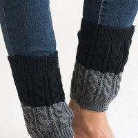 Twice As Nice Black and Grey Boot Cuffs