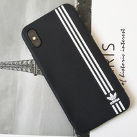 Adidas Fashion new stripe print women and men protective cover phone case Black