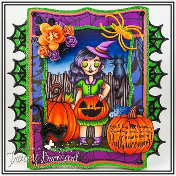 Handmade Halloween Witch Black Cat Greeting Card - It Must Be Time For Halloweening - Handmade Handcrafted Stamped 3D Stitched Glittery Card