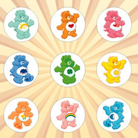 CARE BEARS Set of 9 - 1 Inch Pinback Buttons or Magnets