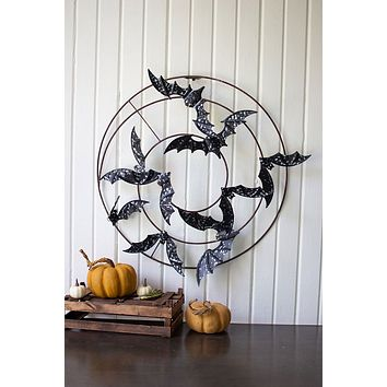 Painted Metal Bats Wall Hanging