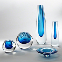 Global Views Square Cut Glass Vase-Cobalt - Global Views 6-60275
