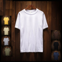 Korean Summer Men T-shirts Short Sleeve Round-neck Cotton Slim Fashion Bottoming Shirt [10474566979]