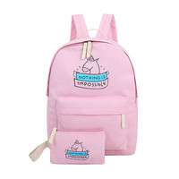 TEXU women canvas backpack cute unicorn cartoon printing bags schoolbags for teenage girls 7 COLORS