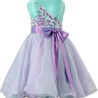 Emma Y Charming Strapless Bowknot Homecoming Graduation Gowns for Teens