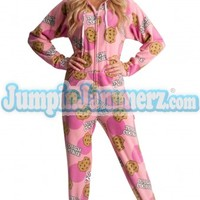 Tough Cookie Hooded Adult Pajamas - Hooded Footed Pajamas - Pajamas Footie PJs Onesuits One Piece Adult Pajamas - JumpinJammerz.com