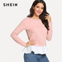 SHEIN Pink Pearl Beading Neck Contrast Trim Top Casual Round Neck Long Sleeve T-shirt Women Plain Minimalist Autumn Tops