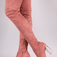 Suede Chunky Clear Heeled Over-The-Knee Boots