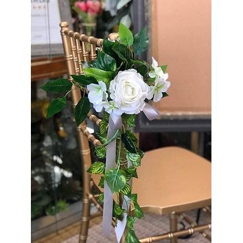 Pew flowers-  Ivory Rose and Hydrangea with Draping Ivy Aisle marker pew chair lantern flower