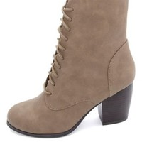 Chunky-Heeled Lace-Up Booties by Charlotte Russe - Taupe