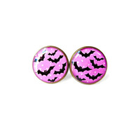 Pastel Goth Hot Pink Earrings with Bats and Polka DOts Stud Earrings - Pastel Goth Pop Culture Jewelry