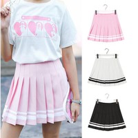 Women Pleat Skirt Harajuku Striped Preppy Sweat Skirts Mini Cute School Uniforms Ladies Jupe Kawaii Skirt Saia Faldas SK753