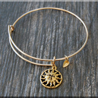 Gold Sun Charm Expandable Bangle Bracelet, Adjustable Bangle Bracelet, Stacking Charm Bracelet, Sun Charm Bangle, Celestial Charm Bracelet