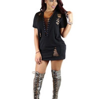 2016 Summer Black Ribbons Deep V Neck Cut Out Tshirt Dress For Women Mini Casual Robe Femme Casual Hip Hop Ropa Mujer Loose
