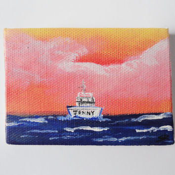 Sunset Boat Acrylic ACEO Painting by SamIamArt