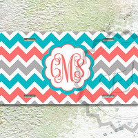 Cute License Plate - Turquoise, Coral and Gray chevron with custom name or monogram, monogrammed gift idea, personalized front car tag - 297
